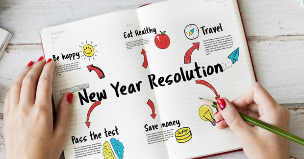 Notebook with an applicant's new year resolutions and goals