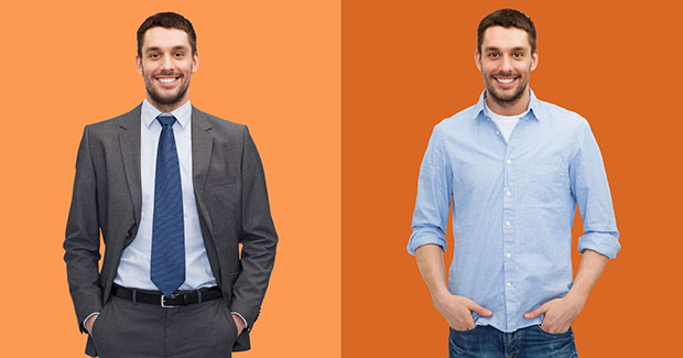 Employee wearing a formal business attire versus casual outfit who is choosing between a corporation and startup