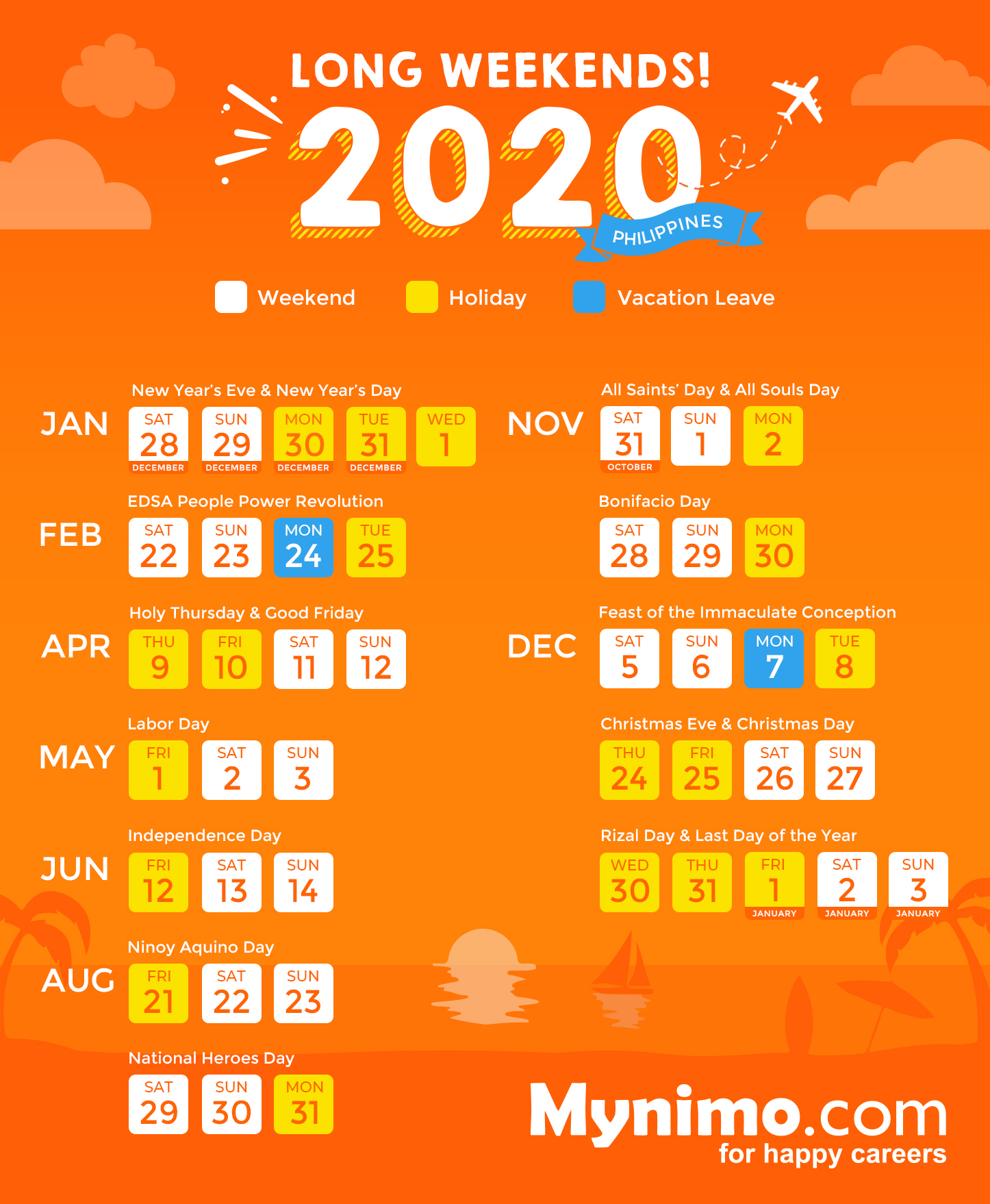 2020 Philippine Holidays and Long Weekends